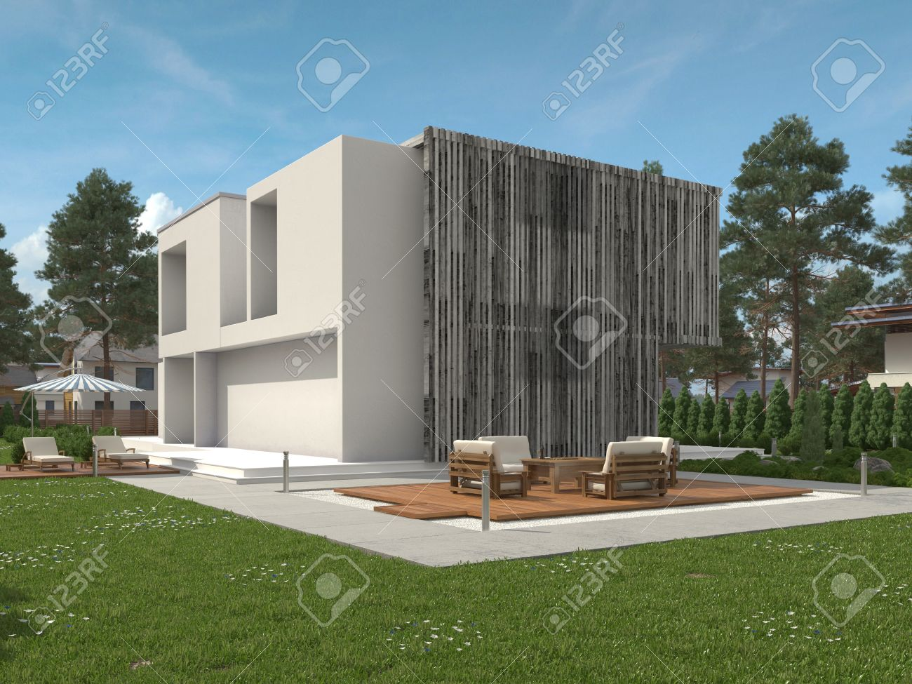 Modern exterior windows - Exterior View Of A Modern Two Storey House With Large View Windows And A Green Landscaped
