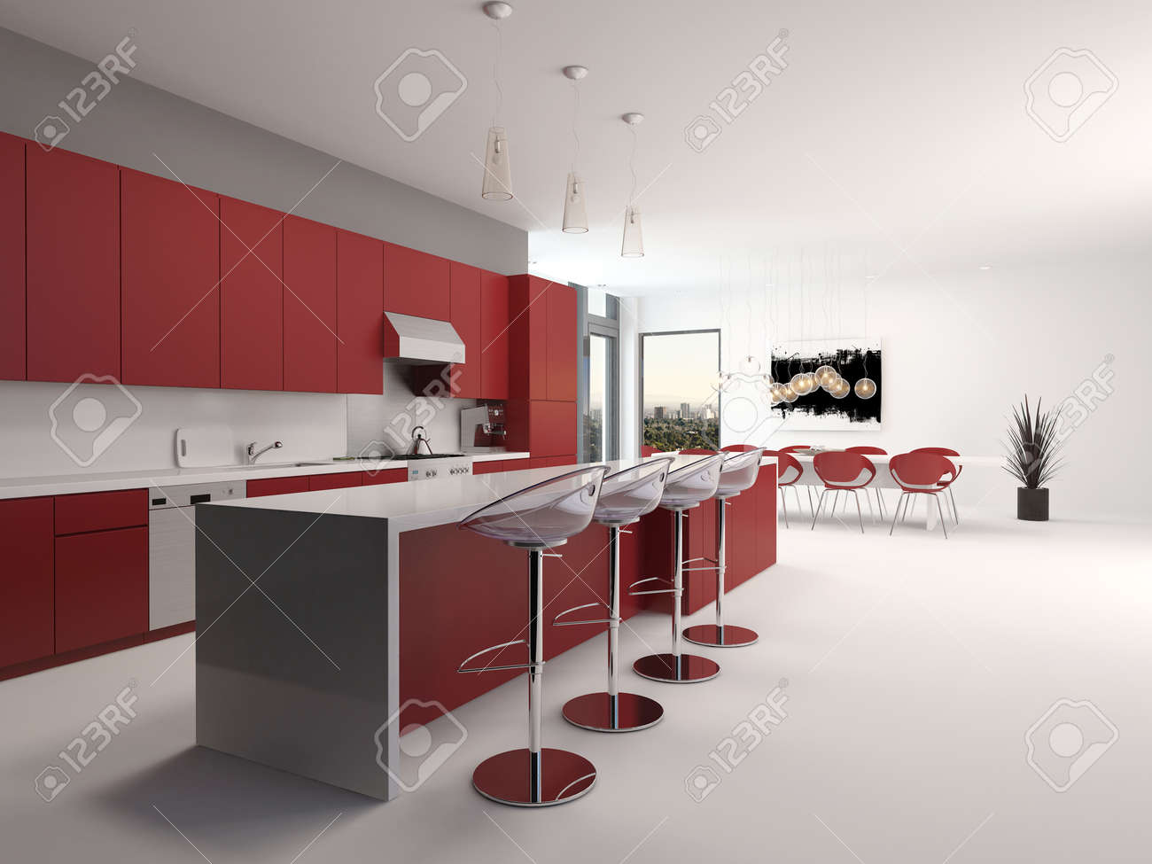 Modern open plan red kitchen interior with a long counter with..