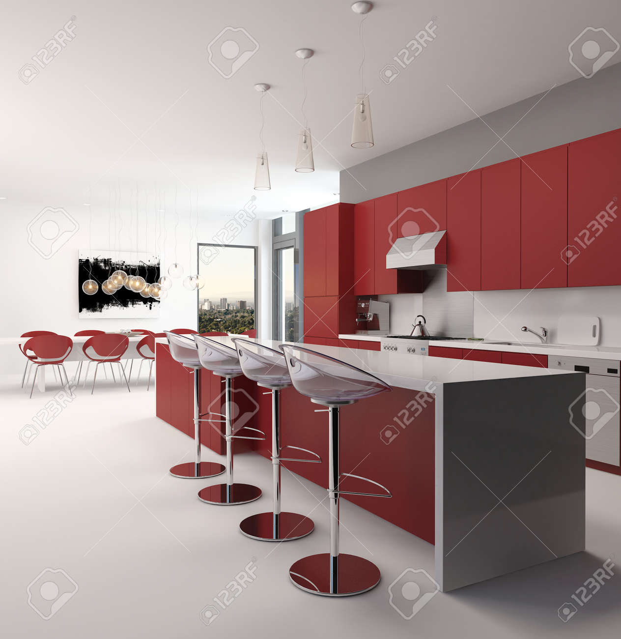 Moderne Offene Rote Küche Interieur Mit Einer Langen Theke Mit ...