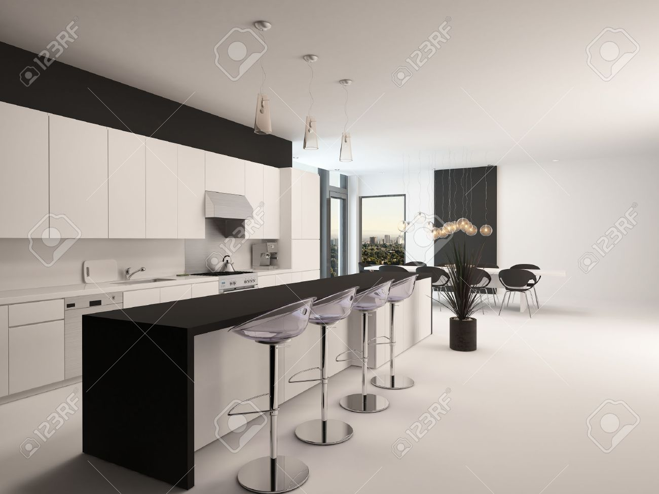 Modern black and white kitchen with a long receding bar counter with bar stools and a & Modern Black And White Kitchen With A Long Receding Bar Counter ... islam-shia.org