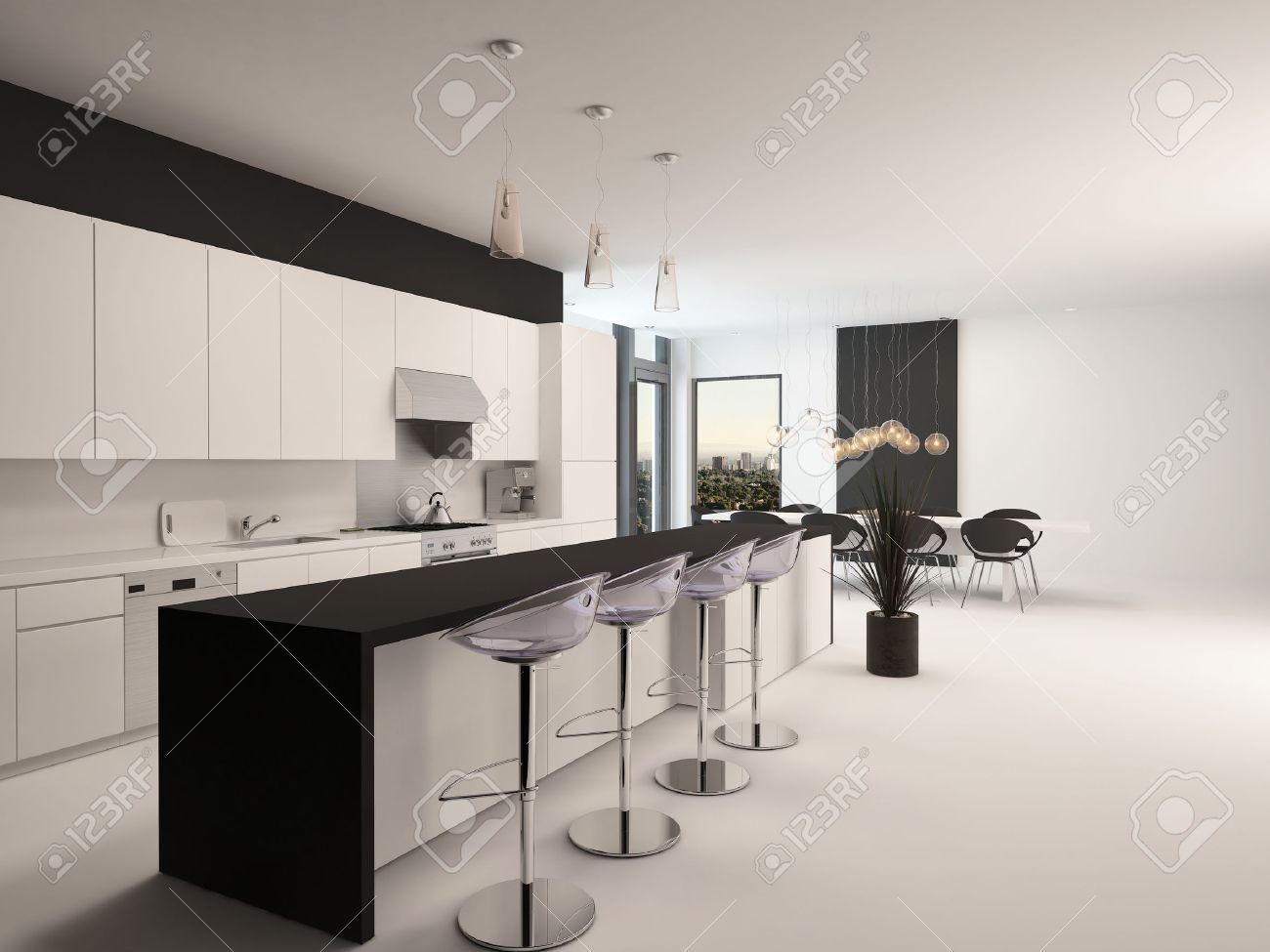 Moderne Schwarze Und Weiße Küche Mit Einem Langen Rückzugs Theke Mit ...