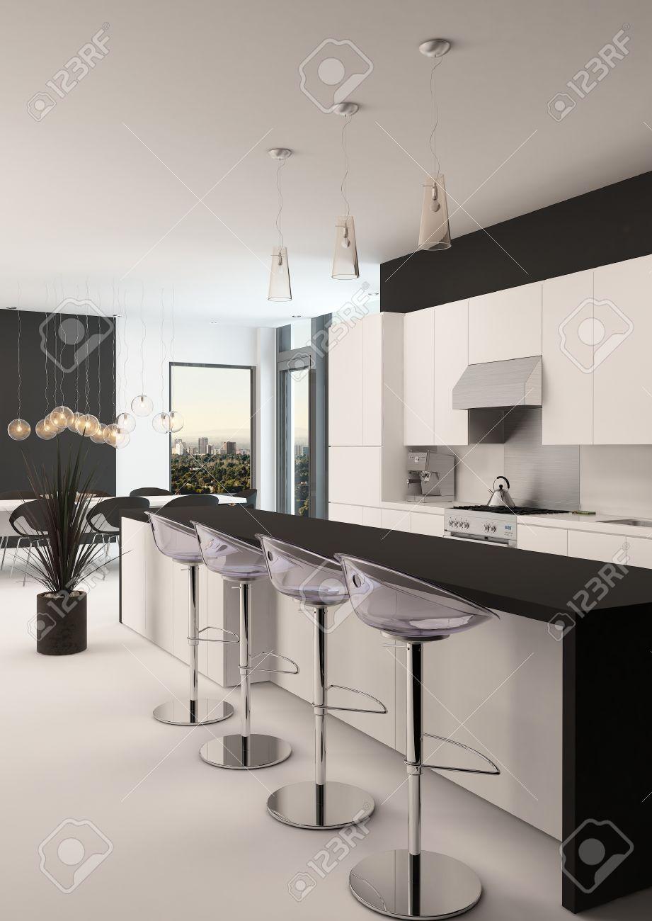Moderne zwarte en witte keuken met een lange terugwijkende bar met ...