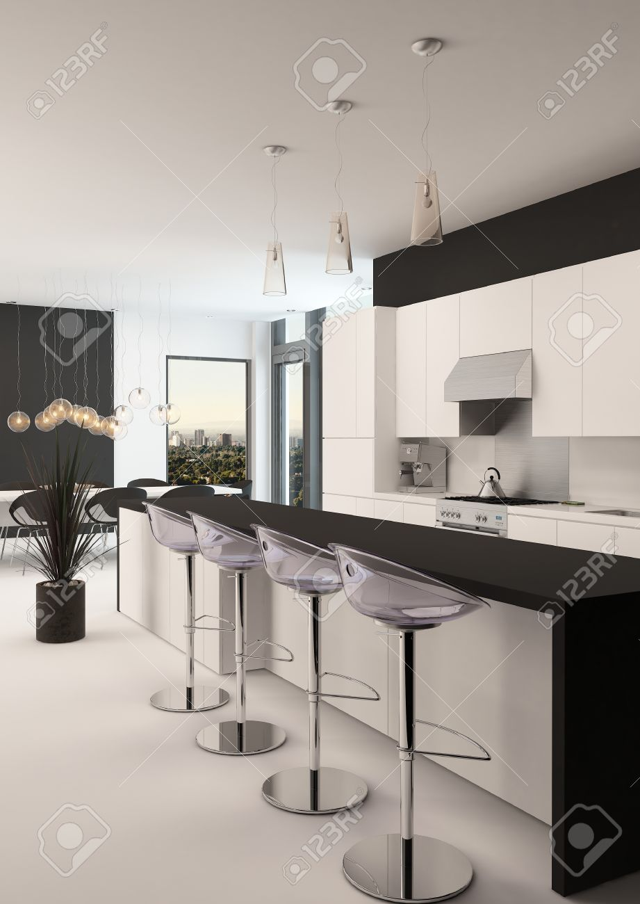 Small Long Kitchen Modern Black And White Kitchen With A Long Receding Bar Counter