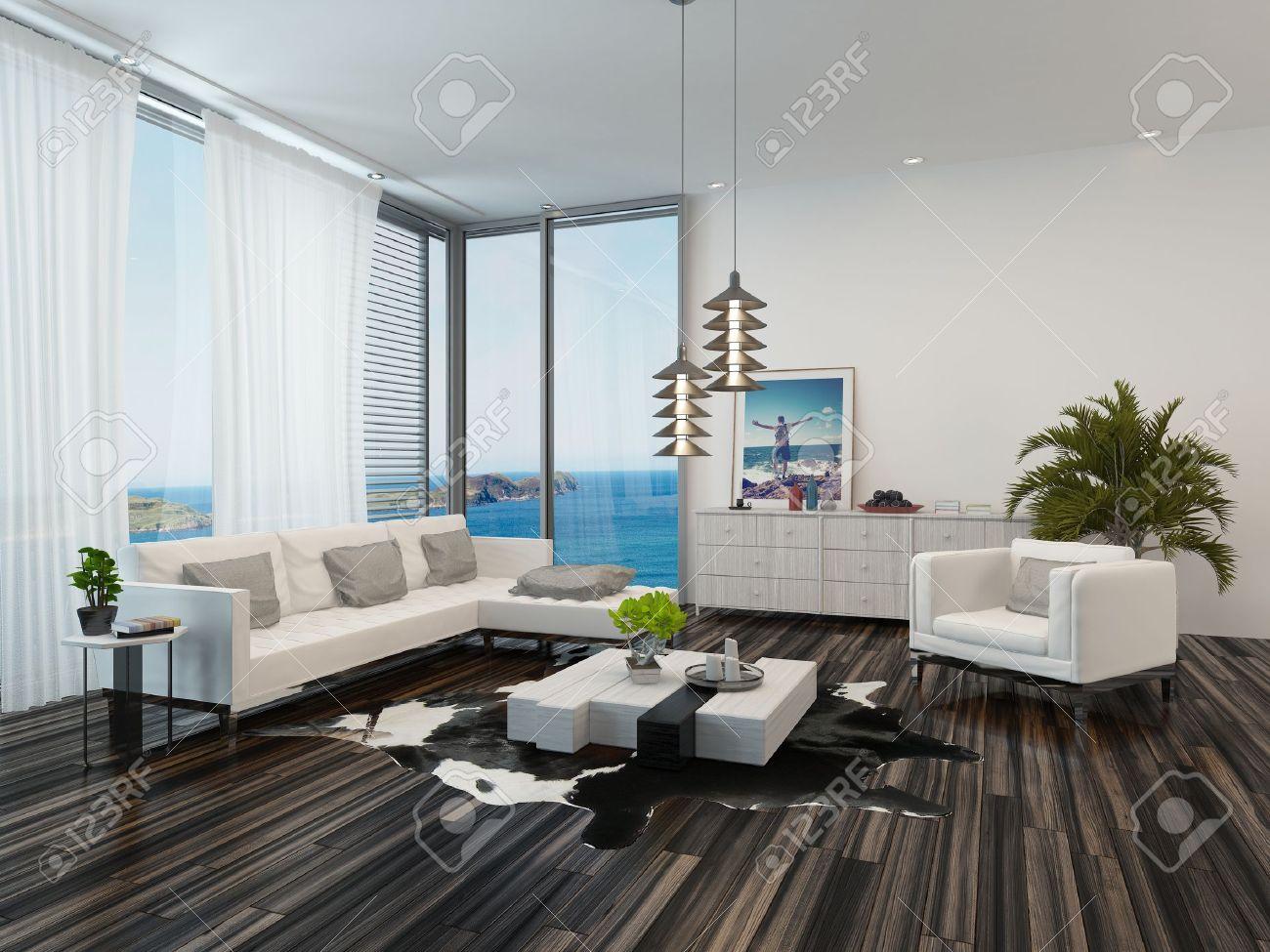 Moderne Wohnzimmer Innenraum Mit Blick Auf Den Ozean Mit ...