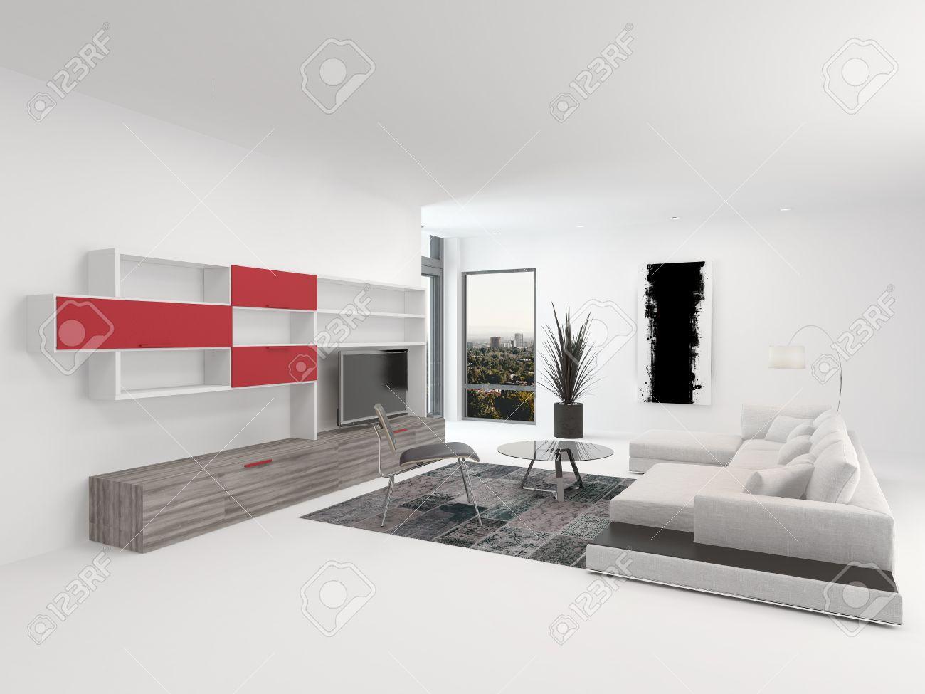 Haut de gamme intérieur salon moderne avec des accents rouge vif ...