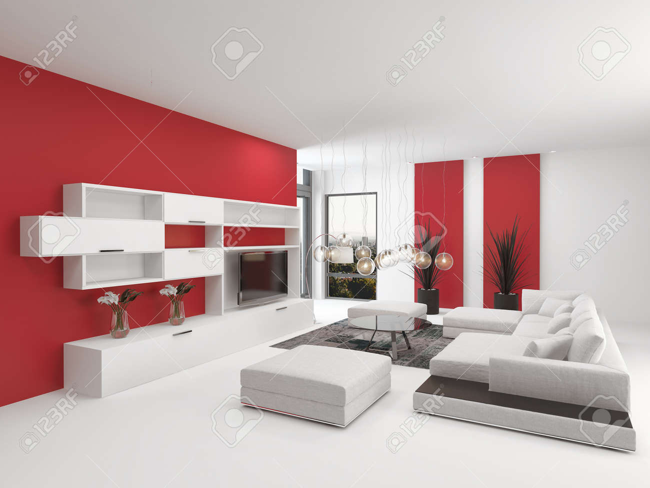 upmarket modern living room interior with vivid red accents and, Living room
