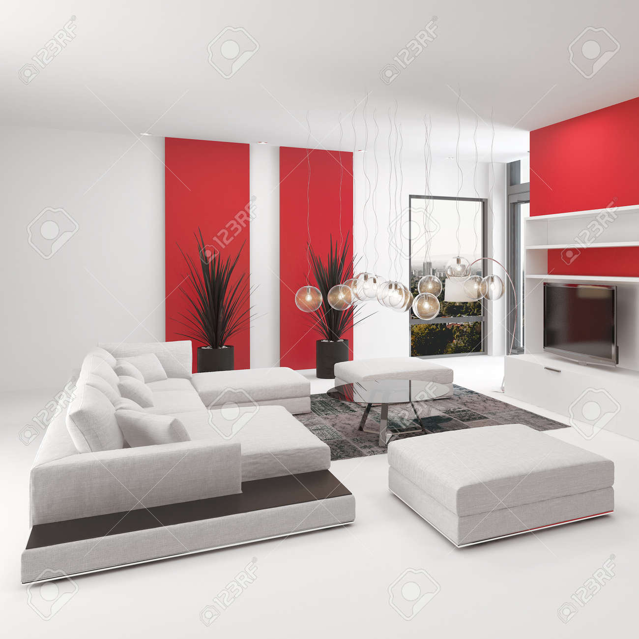 Gehobenen Modernen Wohnzimmer Innenraum Mit Leuchtend Roten Akzenten Und  Weißem Dekor Mit Einer Bequemen Sitzgruppe Modular