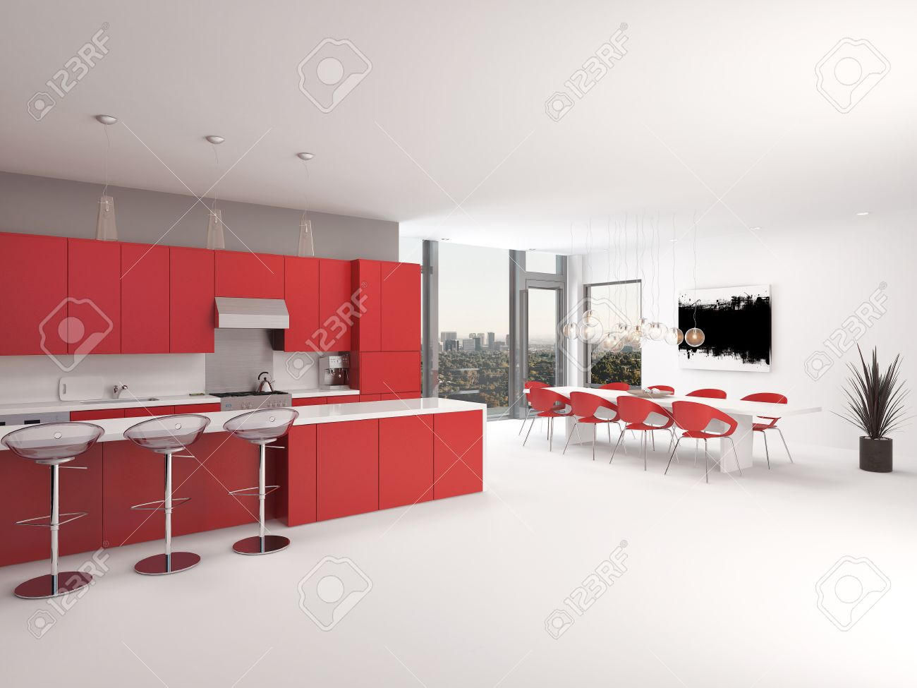 modern open plan red kitchen interior with a long counter with