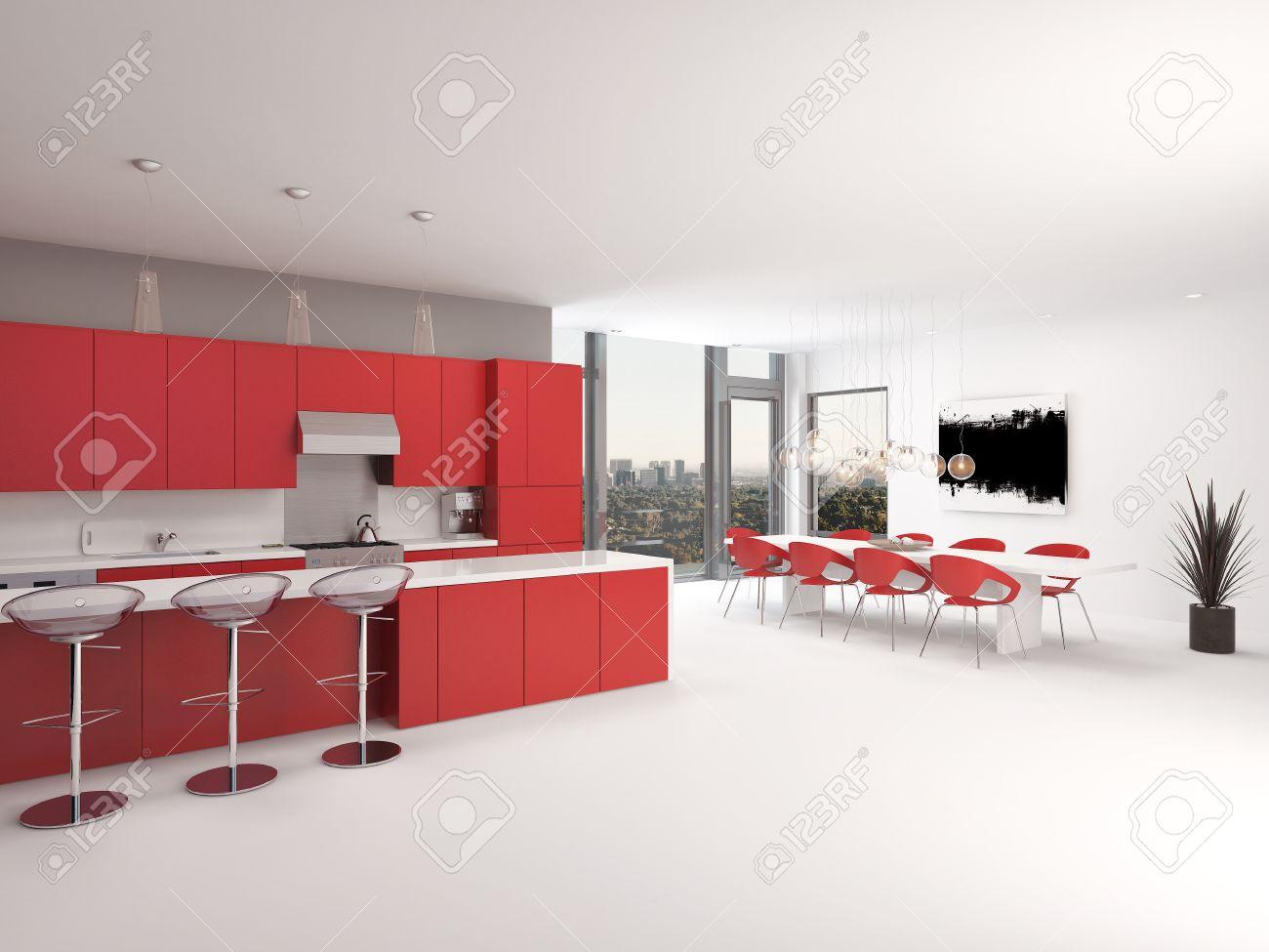 Moderne Offene Rote Küche Interieur Mit Einer Langen Theke Mit Barhockern  Und Küchenschränke Und Geräte Entlang