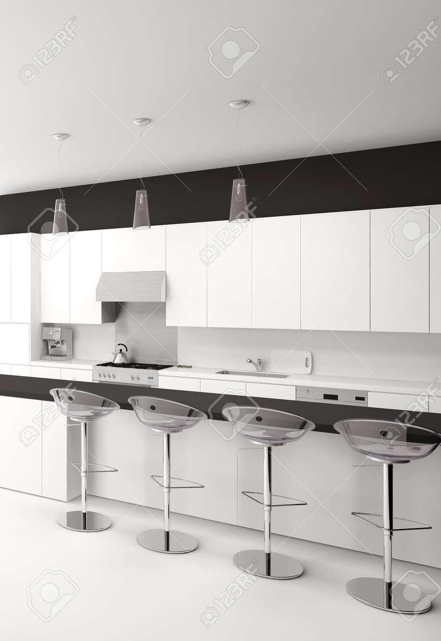 Diáfano Interior De La Cocina En Blanco Y Negro Moderno Con Una ...