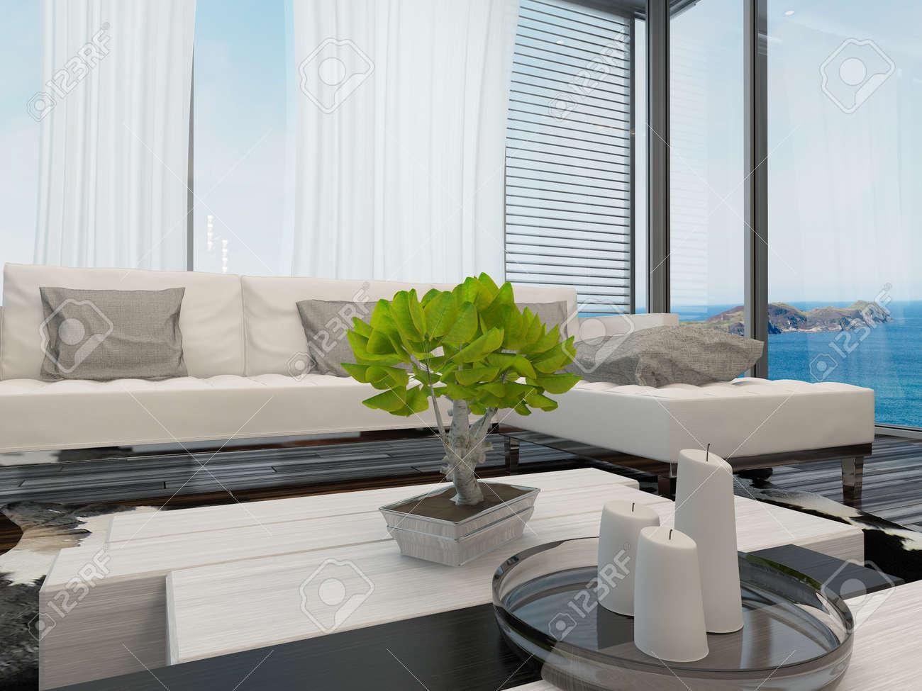 Moderne Helle Luftige Wohnzimmer Oder In Der Lounge Mit Blick Auf Das Meer  Innenraum Mit Großen Fenstern Mit Blick Auf Vorhänge Und Jalousien, Eine  Moderne ...