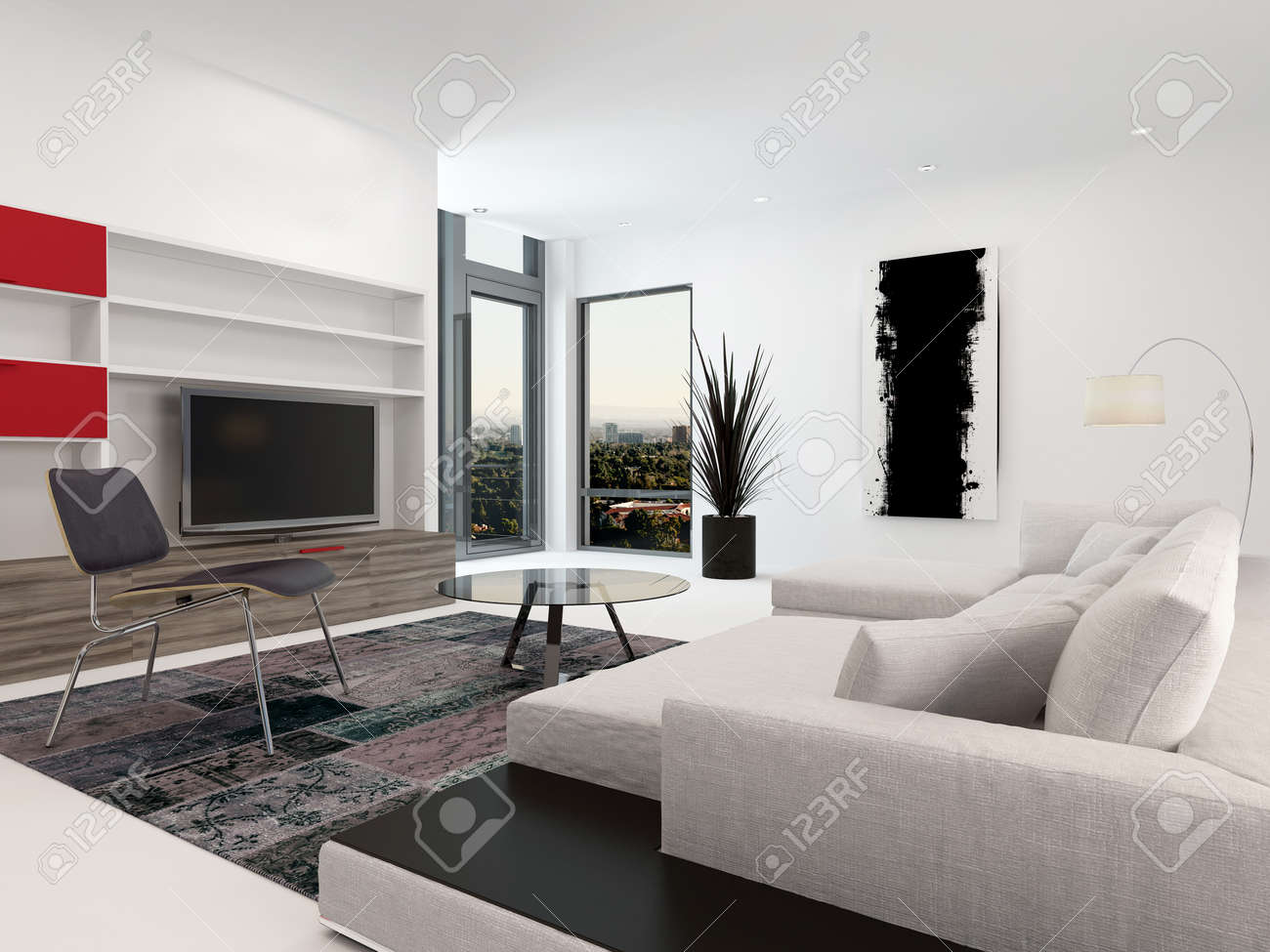 Modern Living Room Interior With A Large Television Set In Wall Mounted  Cabinets, A Part 97