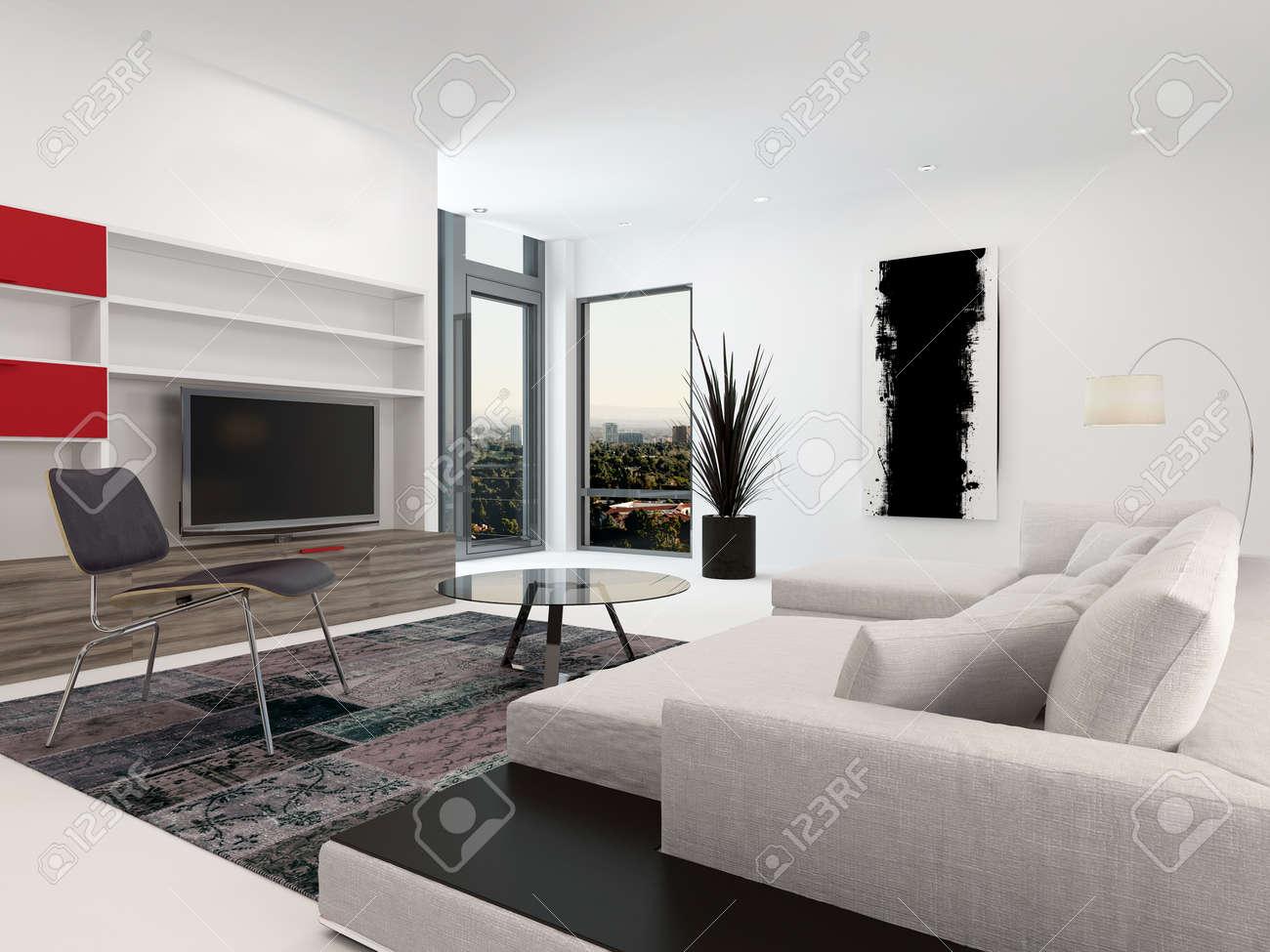 Moderne Wohnzimmer Innenraum Mit Einem Großen Fernseher In Wandschränke,  Ein Großes Gepolstertes Sofa Und Kleinen