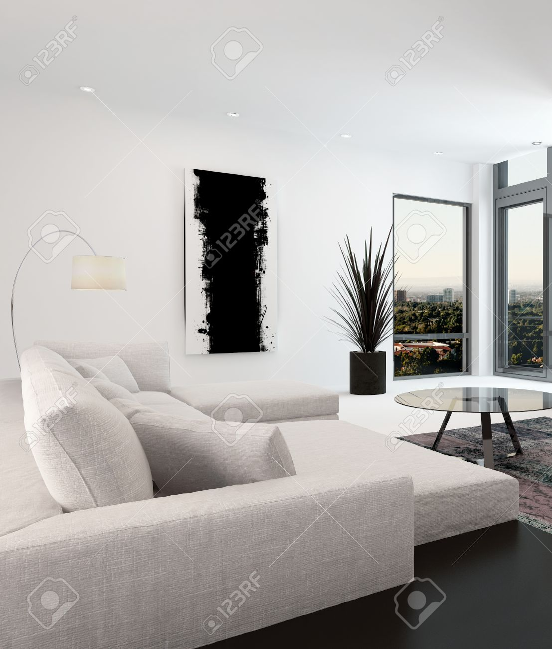 White And Black Living Room Interior With A Close Up View Of.. Stock ...