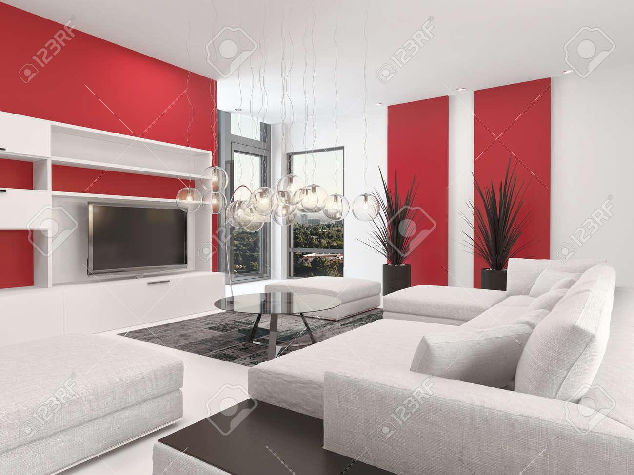Moderne Wohnzimmer Innenraum Mit Weißem Dekor Und Sitzgruppe Mit Bunten  Pulsierenden Roten Akzenten Und Einem Großen