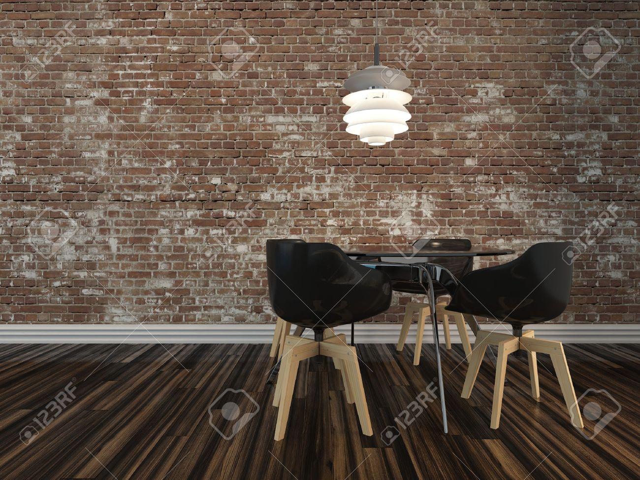 Petite table de salle à manger moderne et quatre chaises sur un parquet en  bois rustique avec mur de briques de visage dans un décor de fond ...