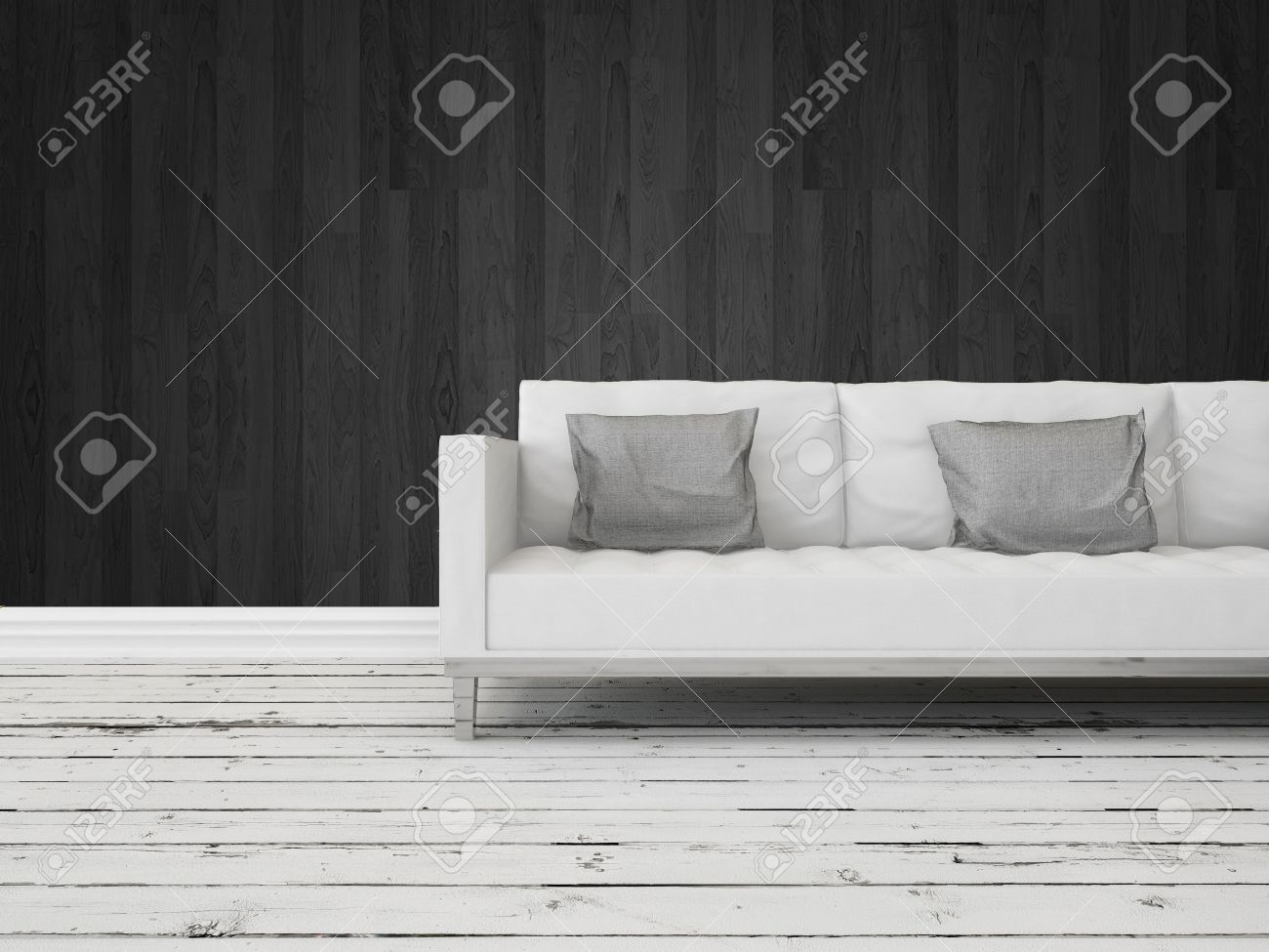 Black And White Interior Decor Background With A Generic Modern White Sofa  Against A Dark Wall