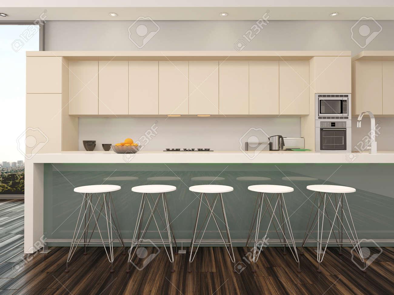 Modern öppen planlösning lägenhet kök interiör med en disk med ...