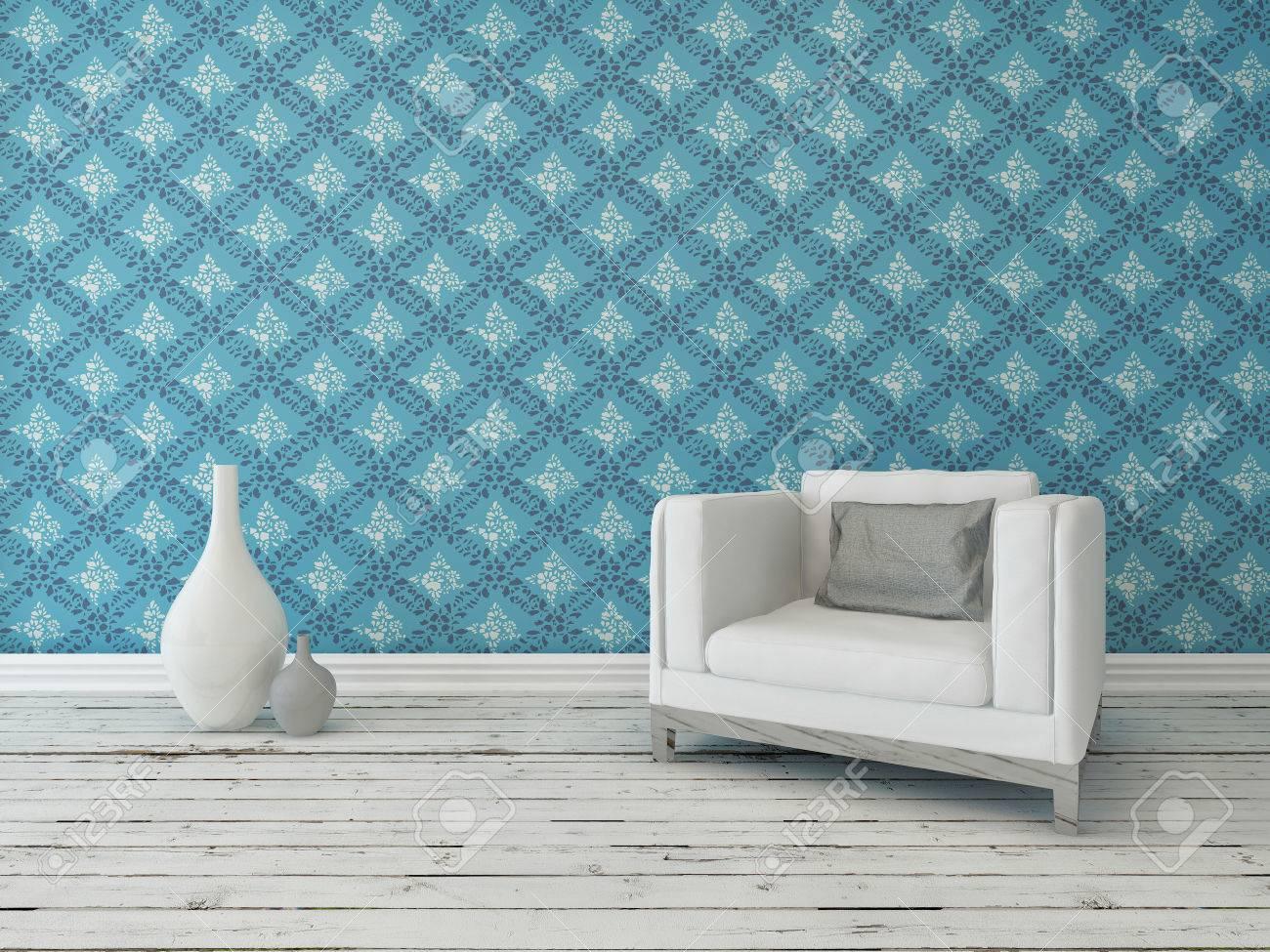 rustiek interieur woonkamer ingericht met een comfortabele crme leunstoel tegen een muur met een groot patroon