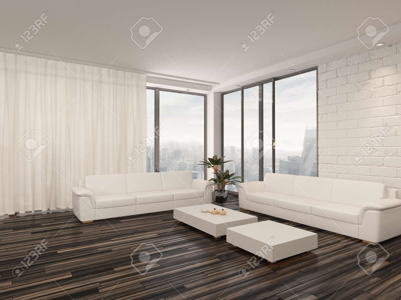 Modern Minimalist Sitting Room Interior With A Bare Wooden Parquet