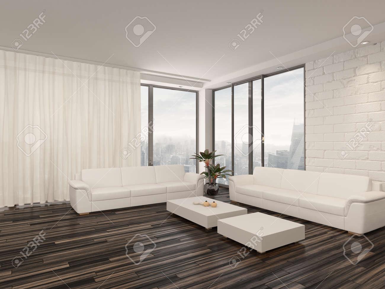 Moderne Minimaliste Salon Interieur Avec Un Sol Nu En Parquet