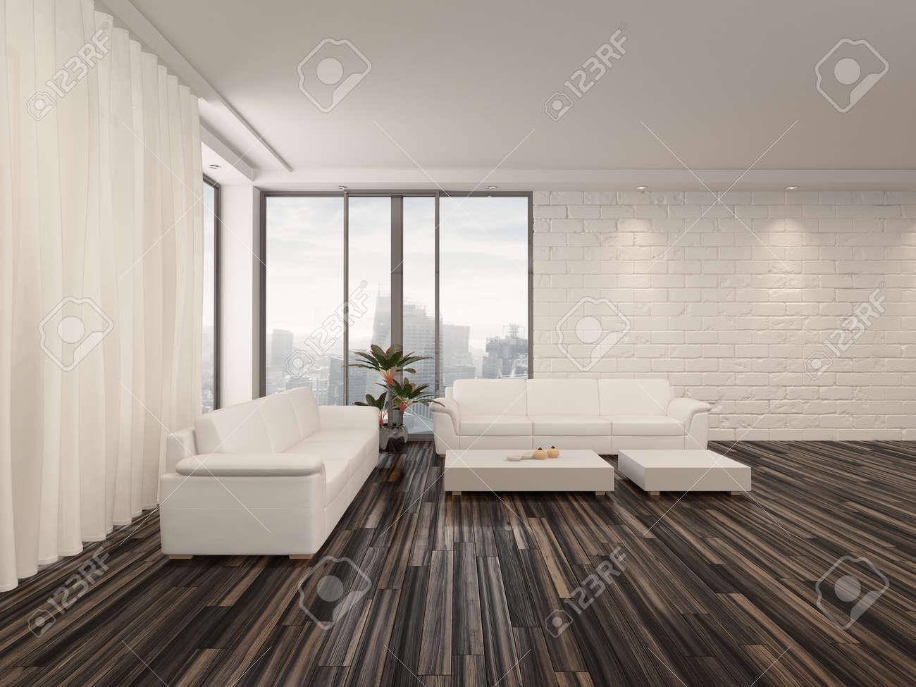 Moderna camera minimalista salotto interno con un nudo pavimento ...