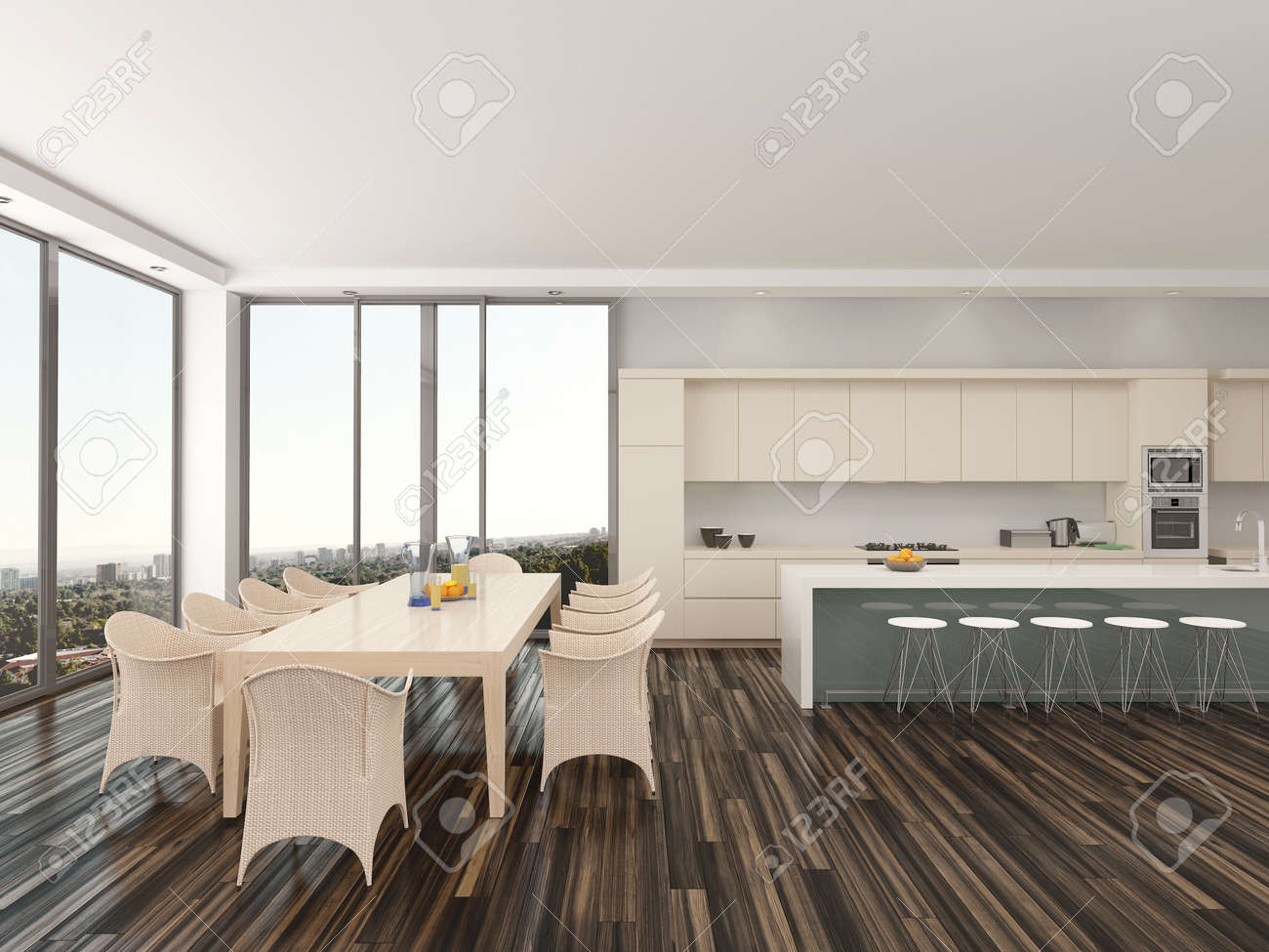 Upmarket Open-plan Kitchen And Dining Room With A Contemporary ...