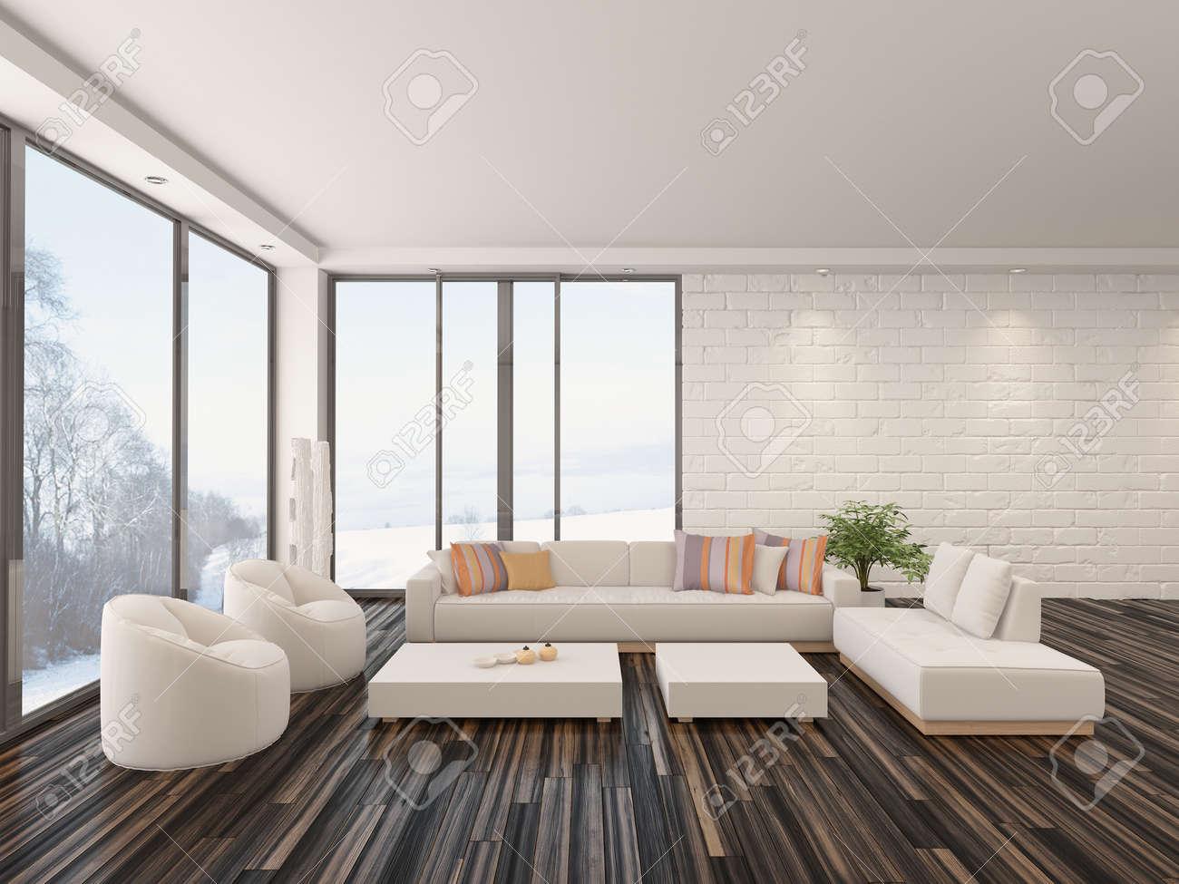 Moderne minimaliste salon intérieur avec un sol nu en parquet ...