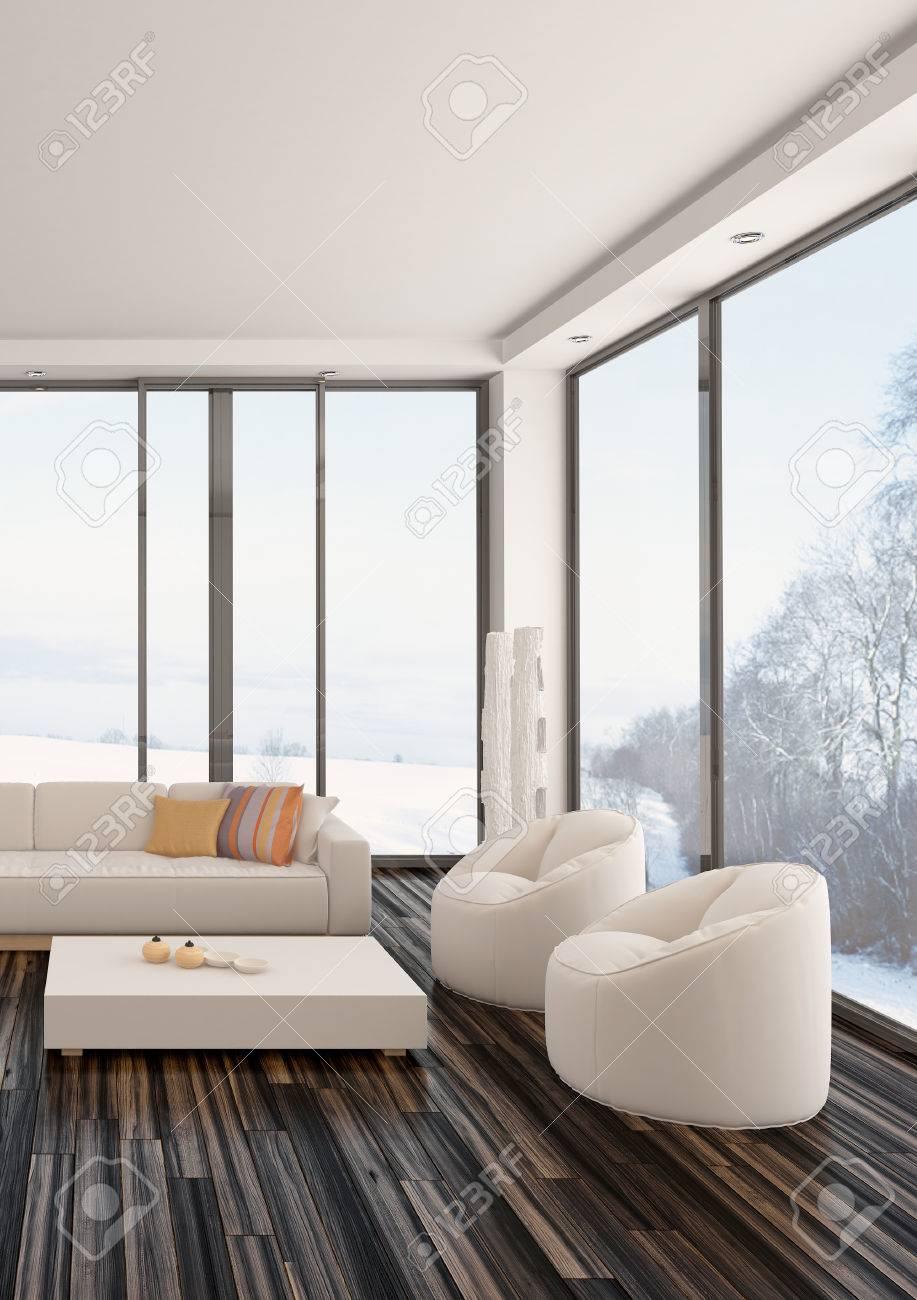 Interieur Moderne De Salon Minimaliste Avec Un Parquet En Bois Nu Bains De Salon Rembourres Et Grande Fenetres De Vue Contemporaines Avec Vue Sur Le