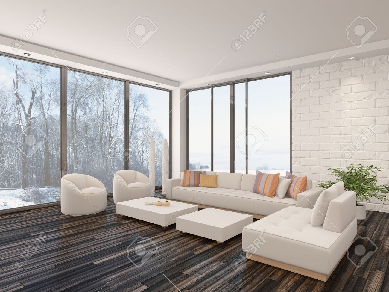 Modern Minimalist Sitting Room Interior With A Bare Wooden Parquet Floor Contemporary Upholstered Lounge Suite