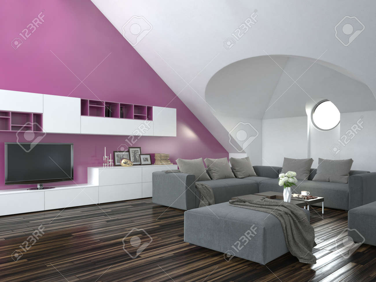 Modern Loft Living Room Interior With A Sloping Ceiling And Purple Accent  Wall With A Grey