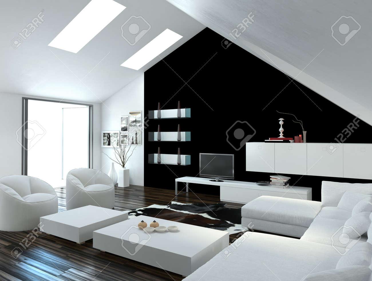 Moderne compacte loft woonkamer interieur met dakramen in het ...