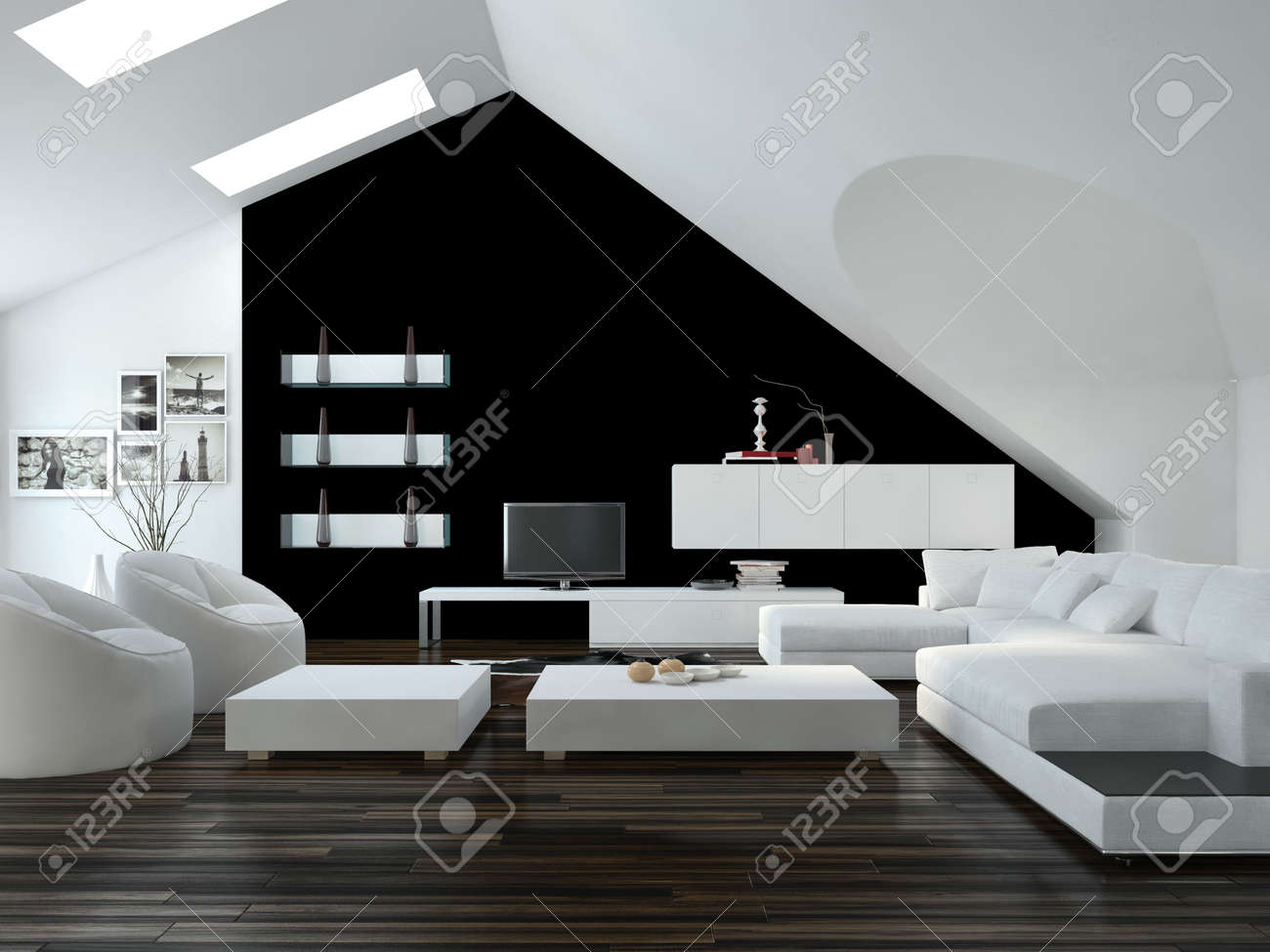 Modern design loft living room interior with skylights in the
