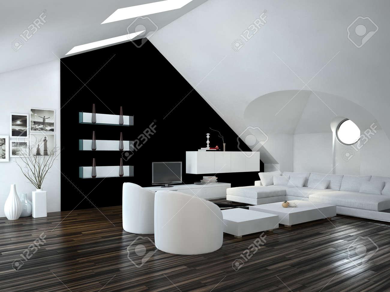 Modernes Design Loft Wohnzimmer Innenraum Mit Oberlichtern In Der  Dachschräge Und Weiß Und Schwarz Dekor Mit
