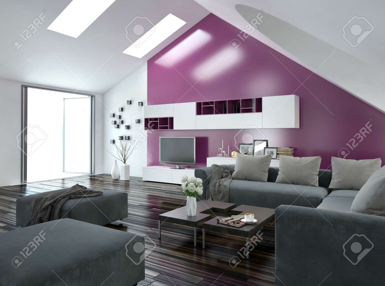Modern apartment living room interior with a purple accent wall and sloping ceiling with skylights above & Modern Apartment Living Room Interior With A Purple Accent Wall ...