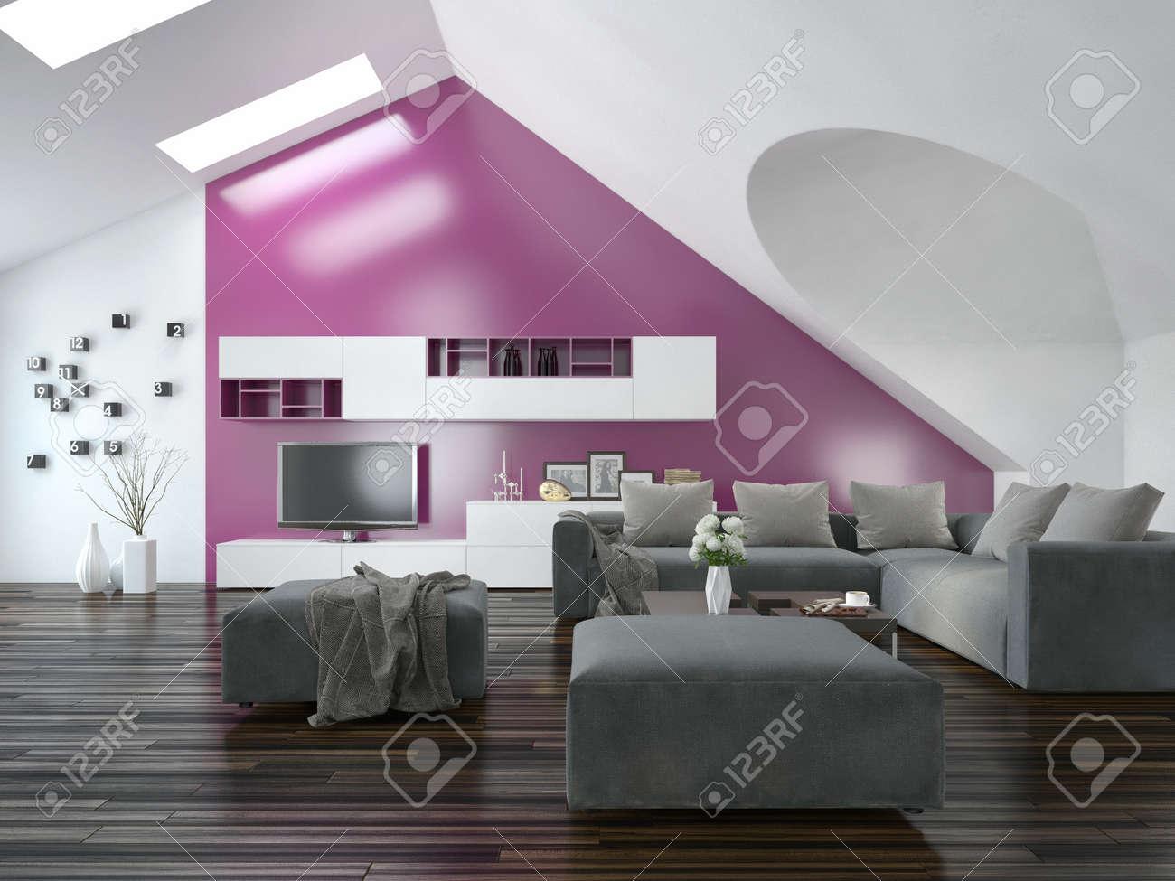 Modern appartement woonkamer interieur met een paars accent muur ...