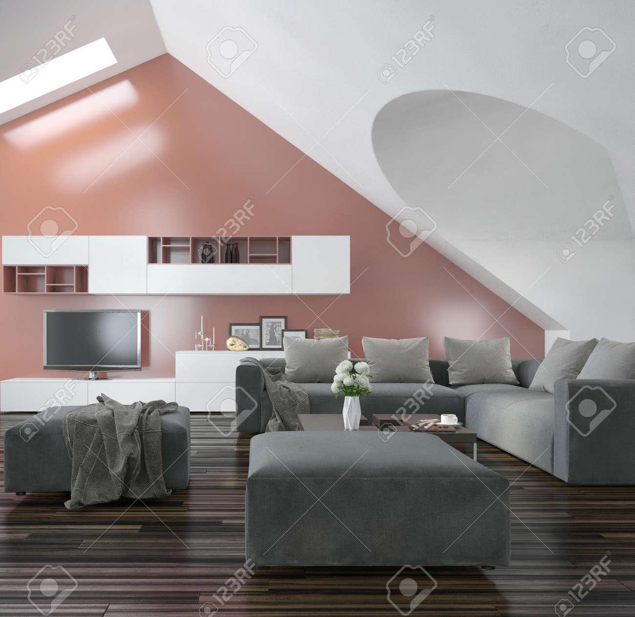Salon Moderne Avec Murs Et Le Plafond En Pente Faitieres Avec Puits De Lumiere Un Parquet En Bois Meubles Moderne Gris Et Un Mur D Accent De Saumon