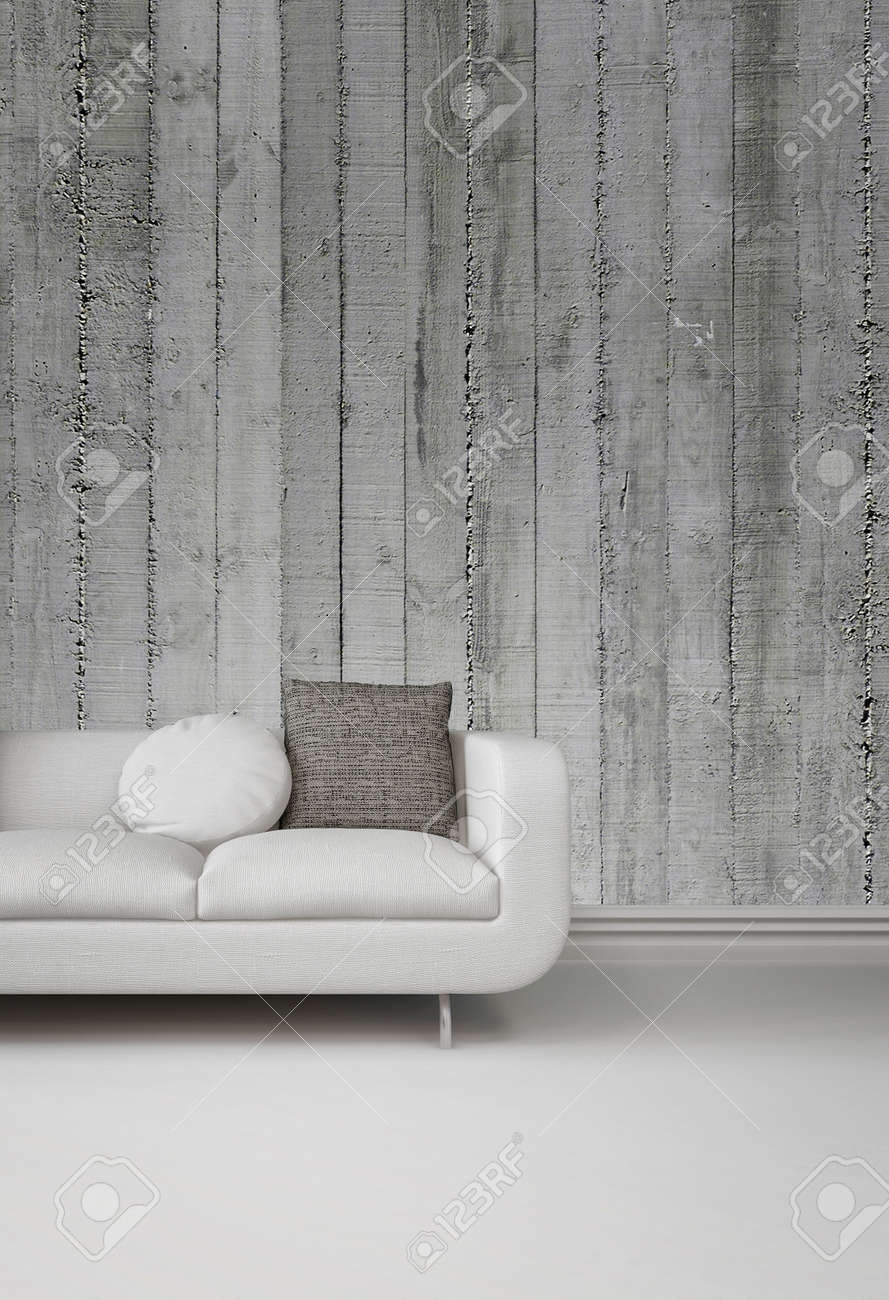 Greyscale Image Of An Upholstered White Sofa Against A Concrete Stock Photo Picture And Royalty Free Image Image 29558547