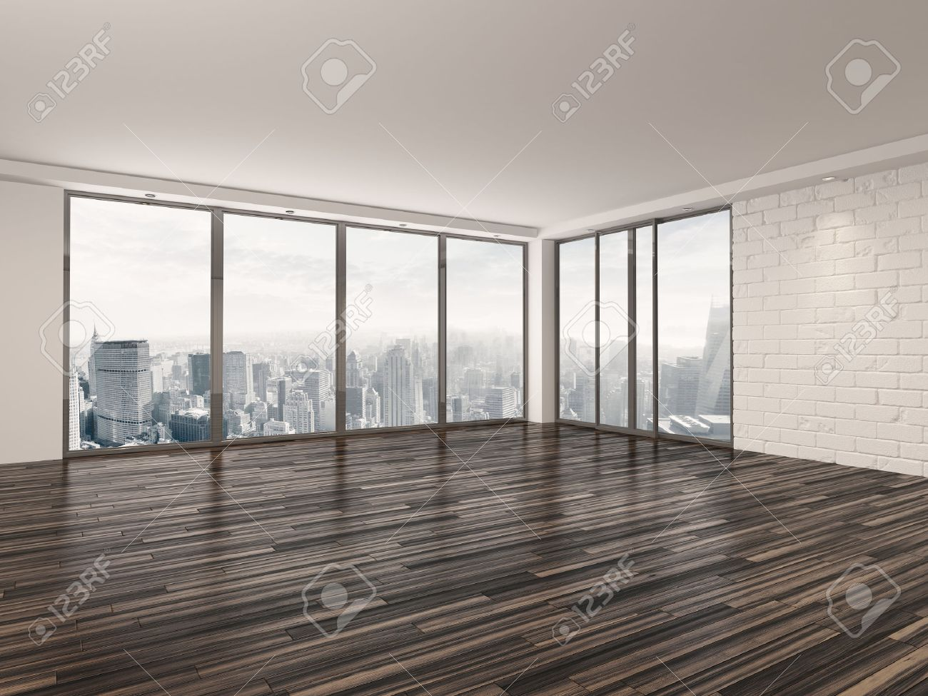 empty apartment living room with a wooden parquet floor white