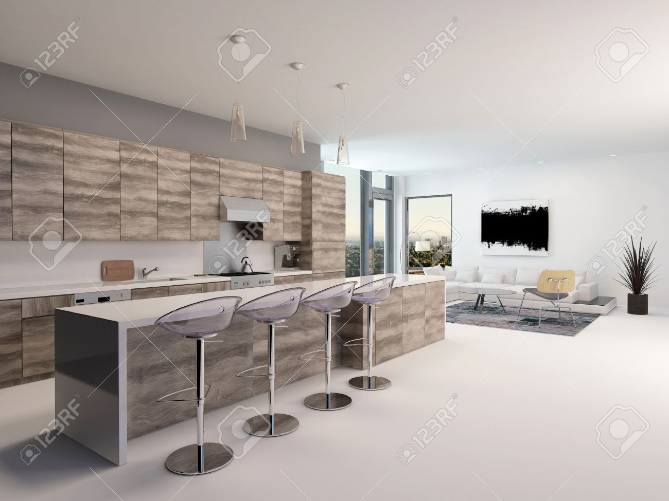 Rustic Style Wooden Open Plan Kitchen Interior With A Long Bar
