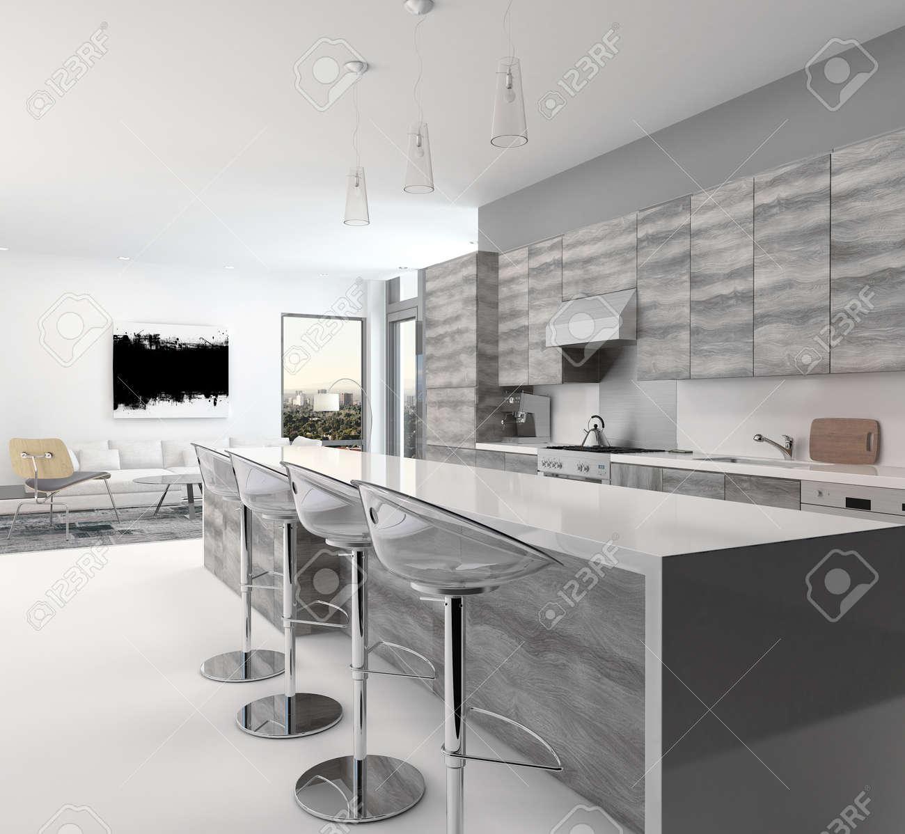 Rustikal-Stil Aus Holz Grau Offene Küche Interieur Mit Einer Langen ...