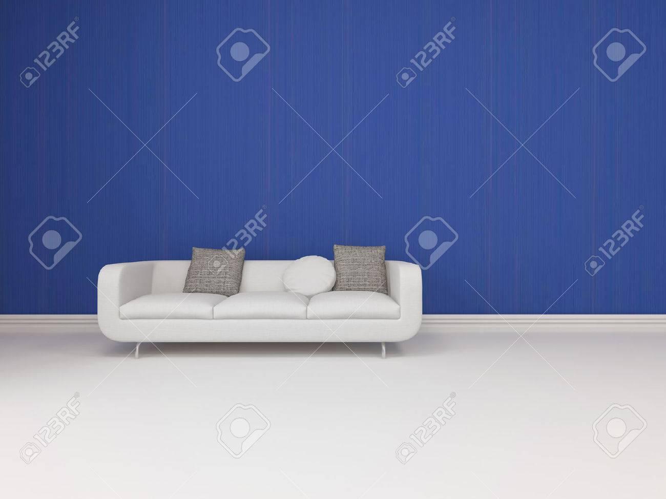 Blanc Canape Moderne Avec Coussins Gris Debout Sur Un Plancher Blanc