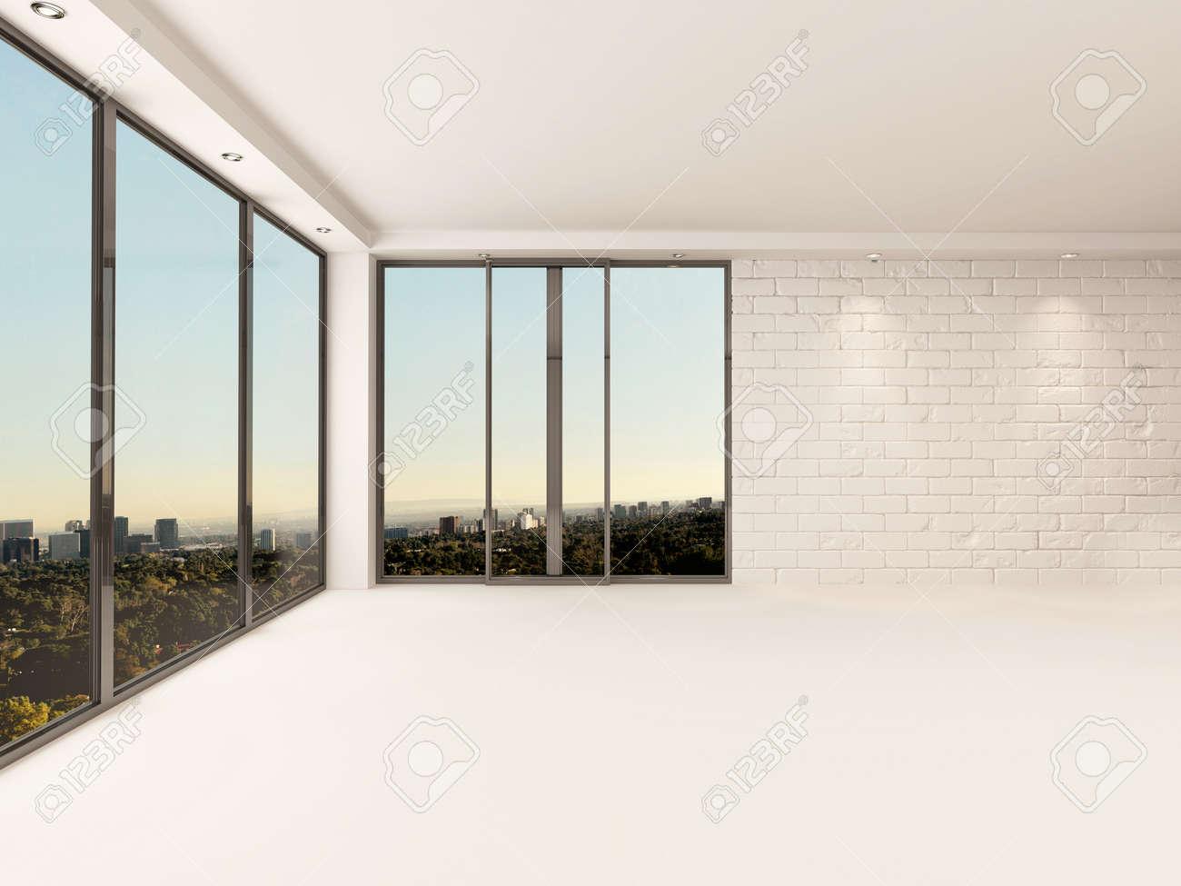 Lichte luchtige lege appartement woonkamer interieur met ...