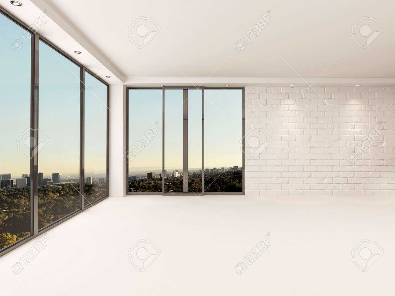 bright airy empty apartment living room interior with painted