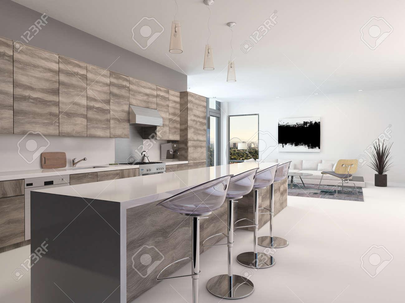 rustikale holz offene küche interieur mit einer langen theke und, Wohnzimmer