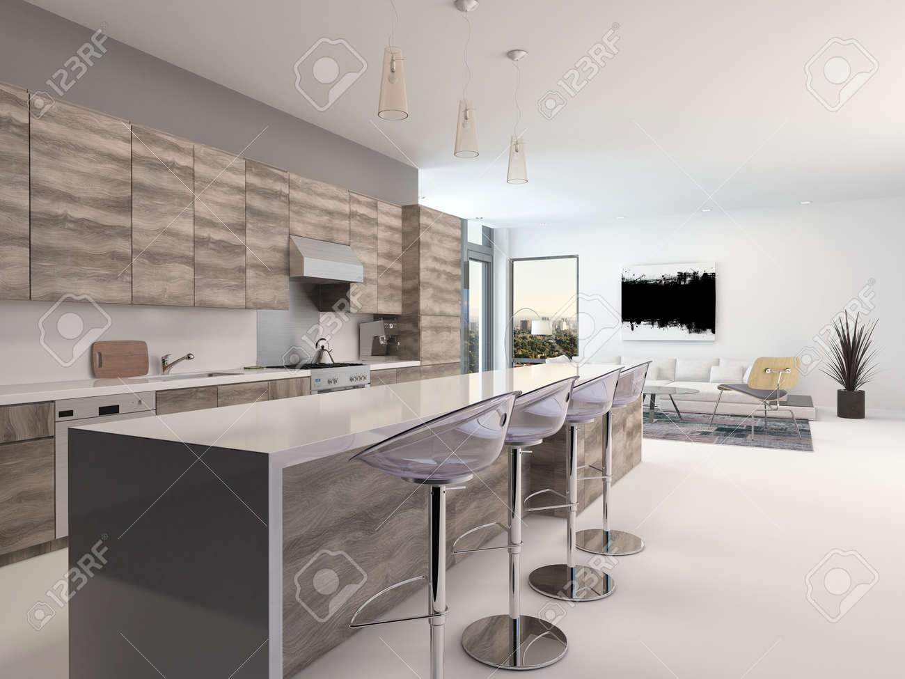 Rustikale Holz Offene Küche Interieur Mit Einer Langen Theke Und ...