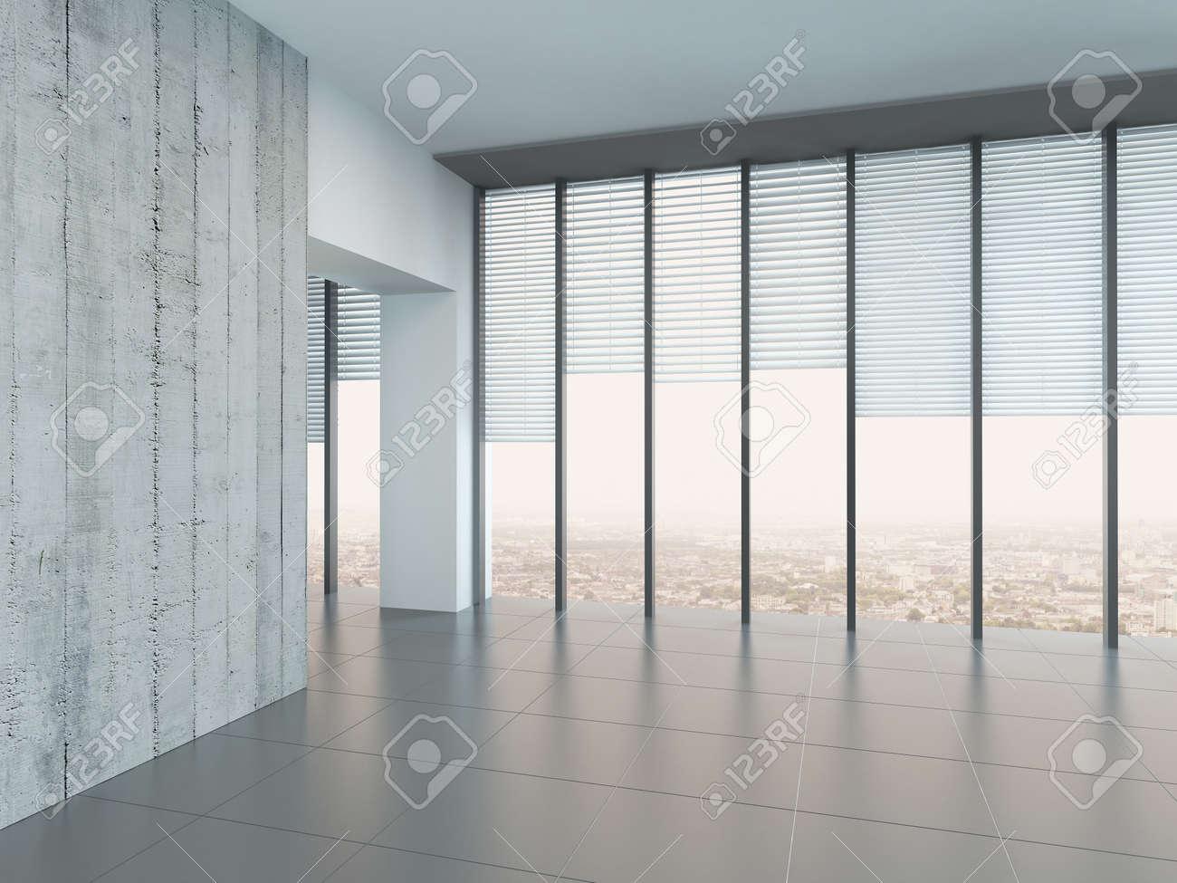 Chambre à Air Lumineux Vide Avec Des Murs Gris Clair Et Le Sol Et De ...
