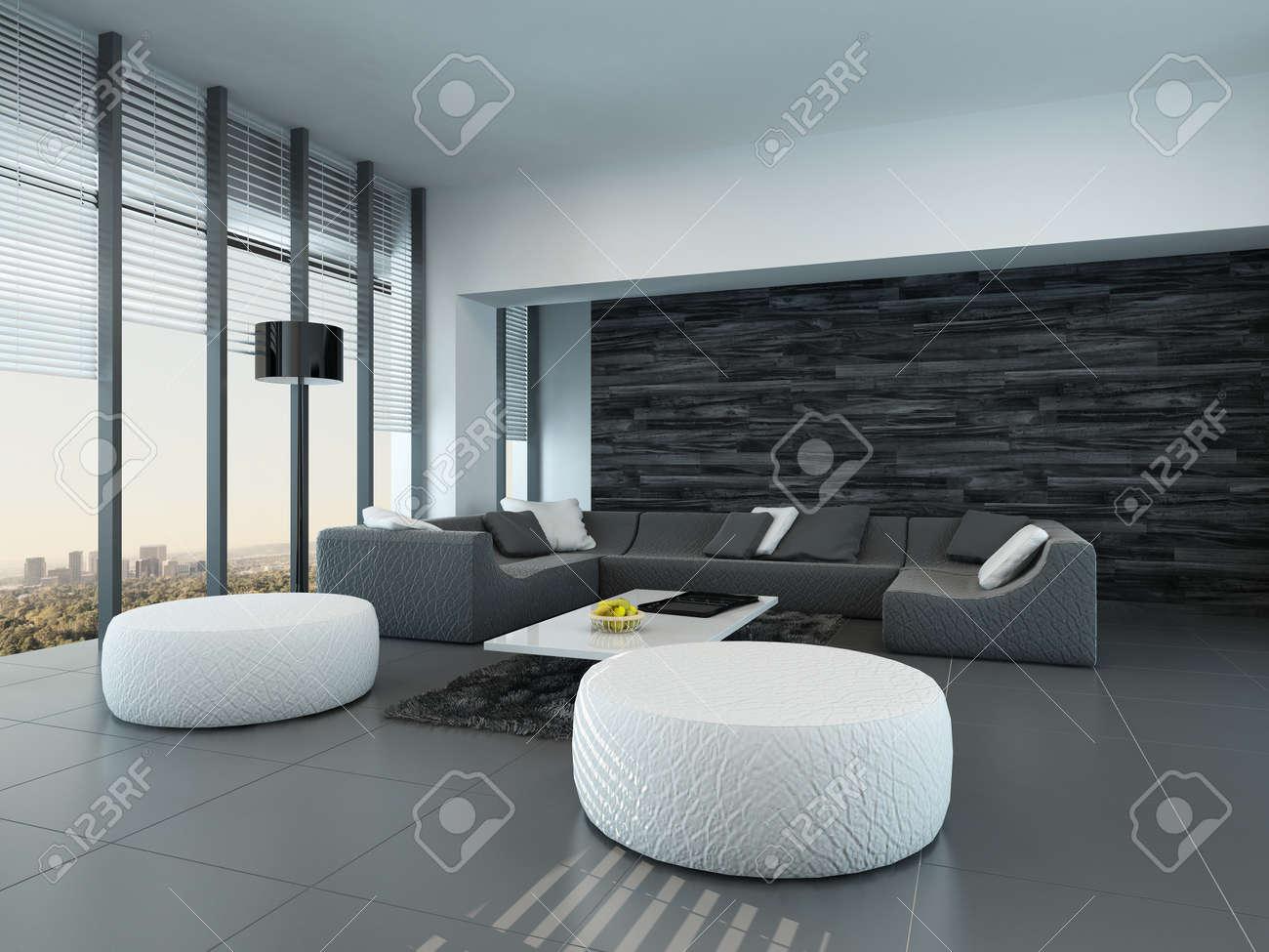Gekanteld perspectief van een moderne grijze en witte woonkamer ...