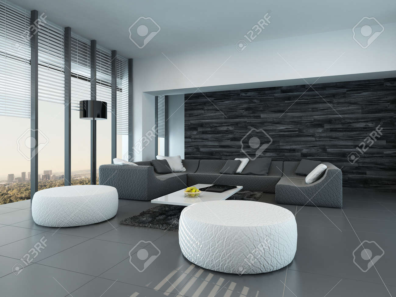 Stock Photo Tilted Perspective Of A Modern Grey And White Living Room Interior With Ottomans And A Large Settee In Front Of Floor To Ceiling Glass Windows