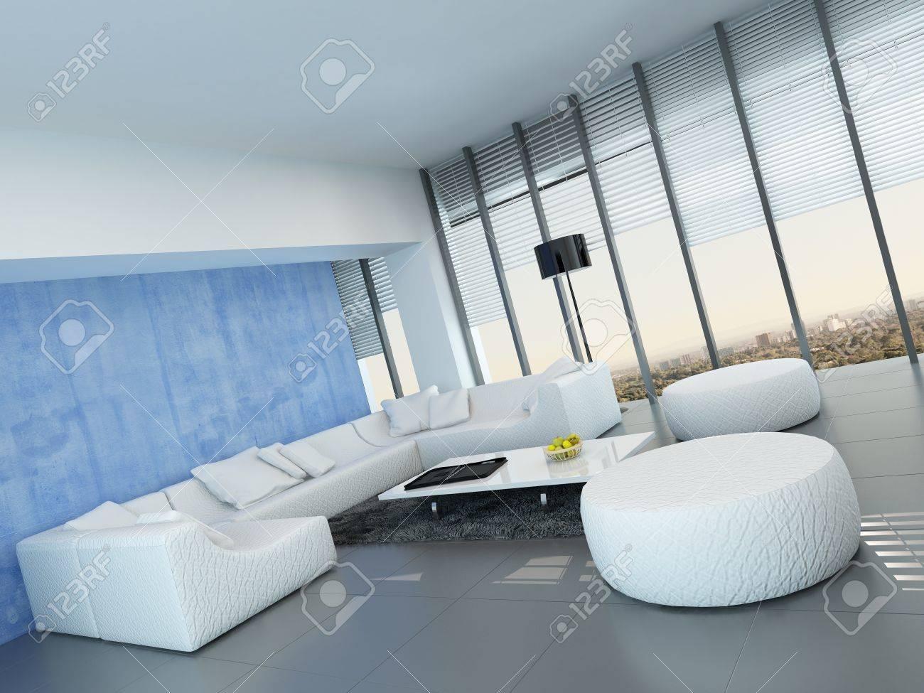 Gris contemporain, bleu et blanc salon décoration intérieure avec un blanc  lounge suite modulaire sur un sol gris, fenêtres du sol au plafond et bleu  ...